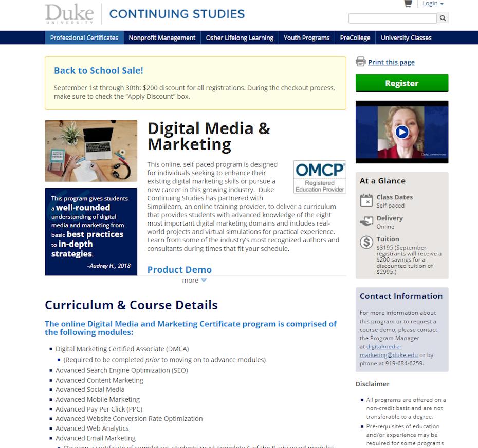 screenshot of Digital Media and Marketing