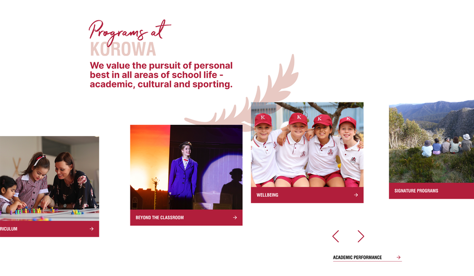 Website showing programs at the school like wellbeing, signature programs and curriculum