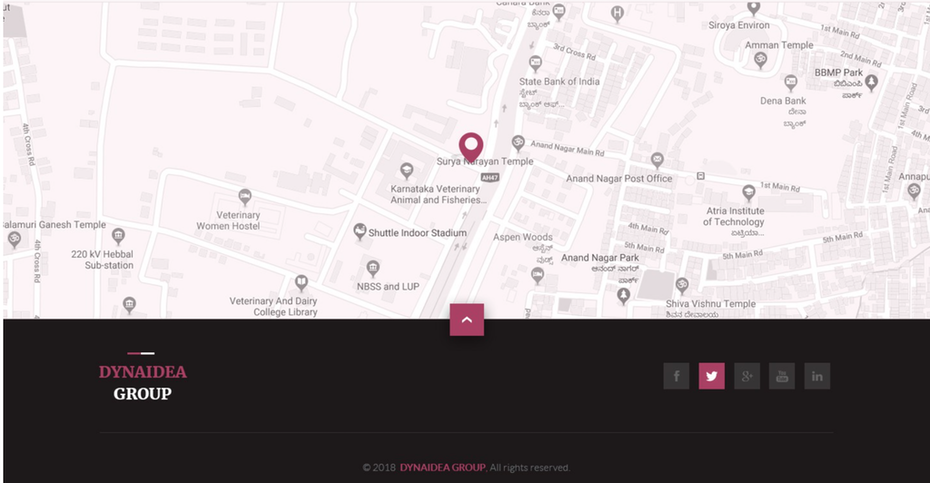 web page with location marked on map
