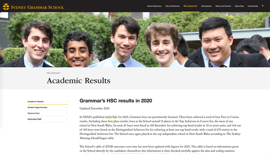 webpage showing academic results page with photo of students on top