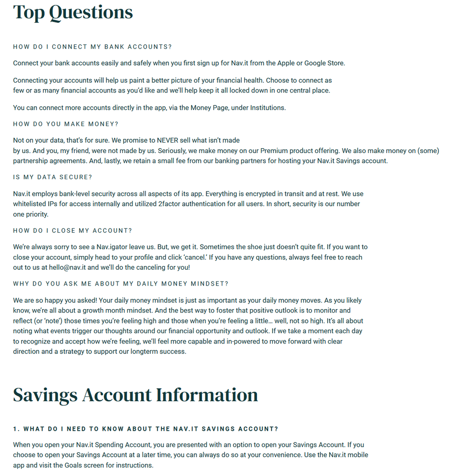 FAQs can save your users time by answering some of their questions.