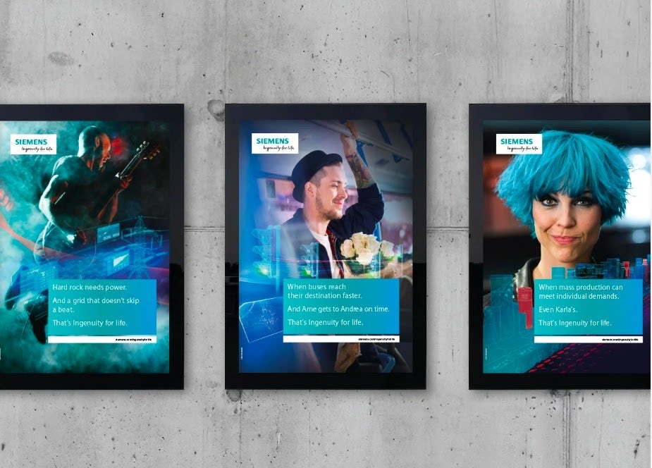 three different posters of a man playing a guitar, another man holding white roses while riding a train, and a woman with electric blue hair