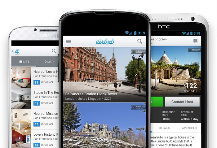 three smartphones show the old look of Airbnb's app