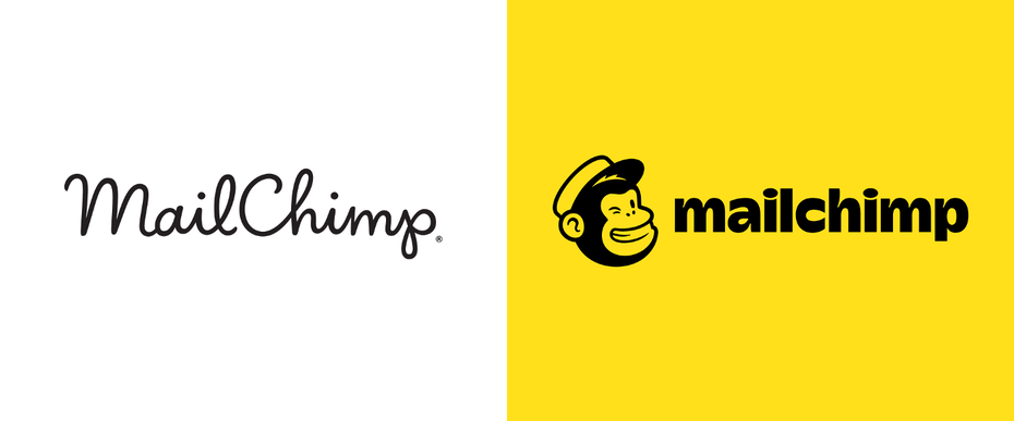 there are two Mailchimp logos. One is written in cursive, while the other is written in print with a winking monkey