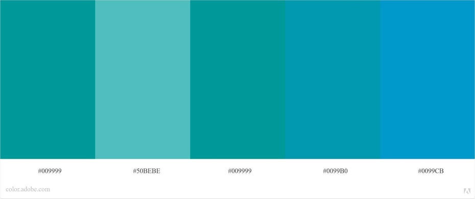 Siemens' color palette consisting of five different hues of blue