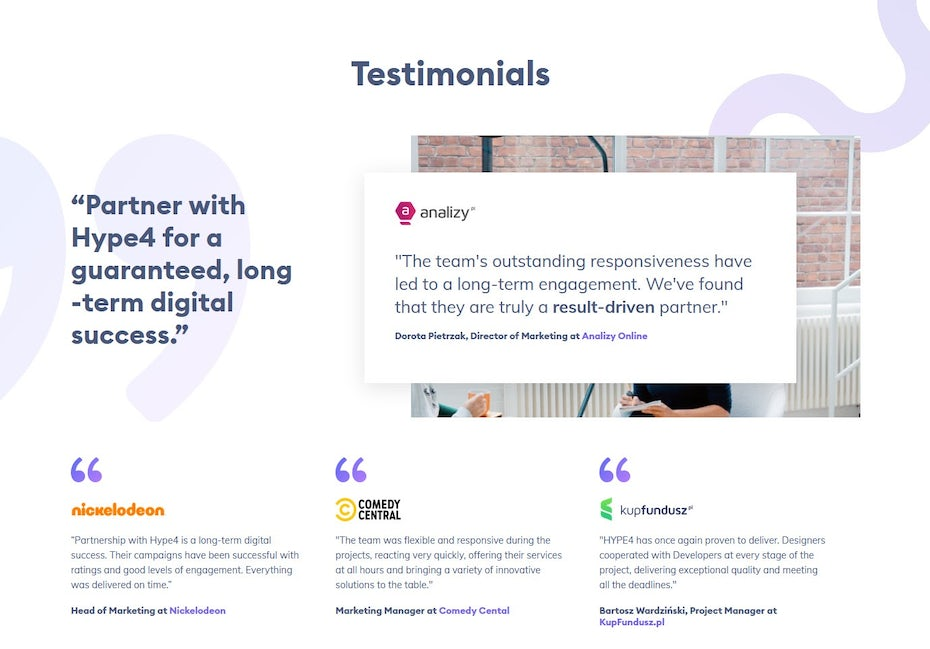 Establish credibility for your small business site with powerful testimonials.