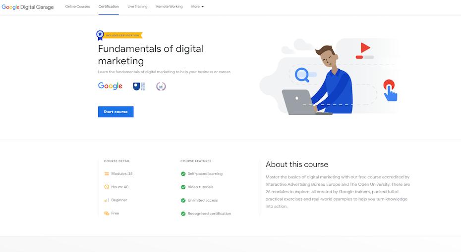 screenshot of Fundamentals of Digital Marketing