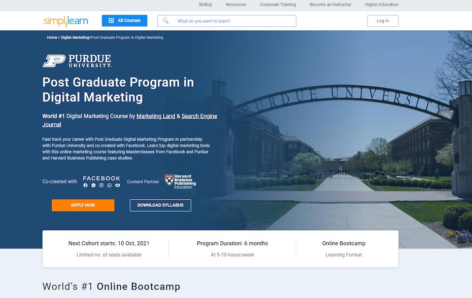 screenshot of Post Graduate Program in Digital Marketing