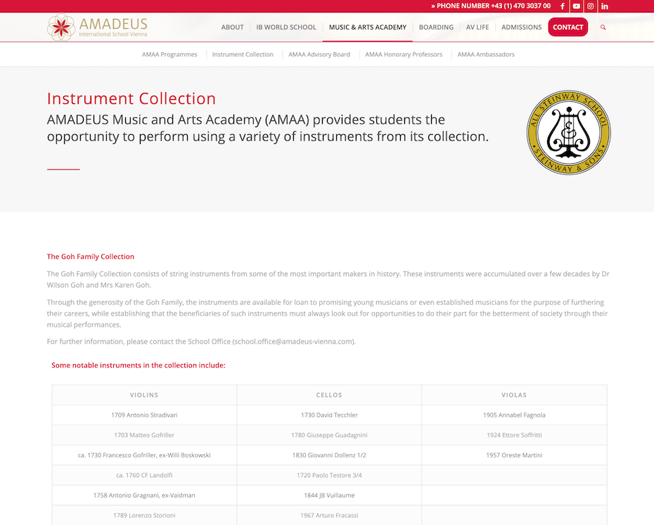 Instrument Collection of school showing different types of violins, cellos and violas available