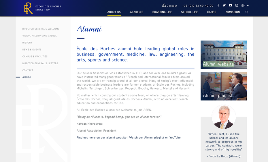 Alumni page of a school containing links of their alumni website, playlist and information