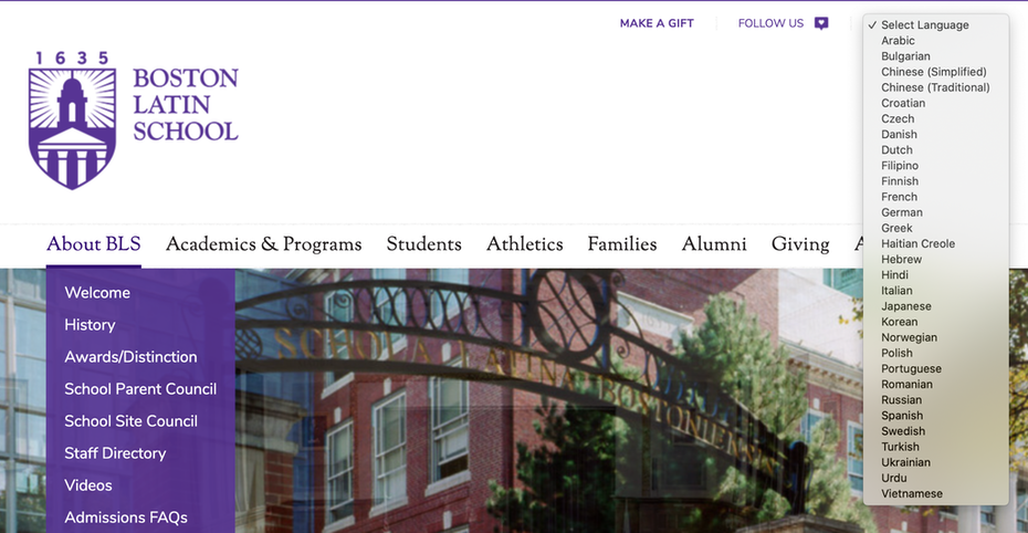 School website that shows multiple language options