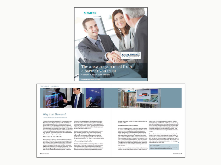 two men shakes hands as a woman smiles at the side, at the bottom of the image is an open page of a brochure