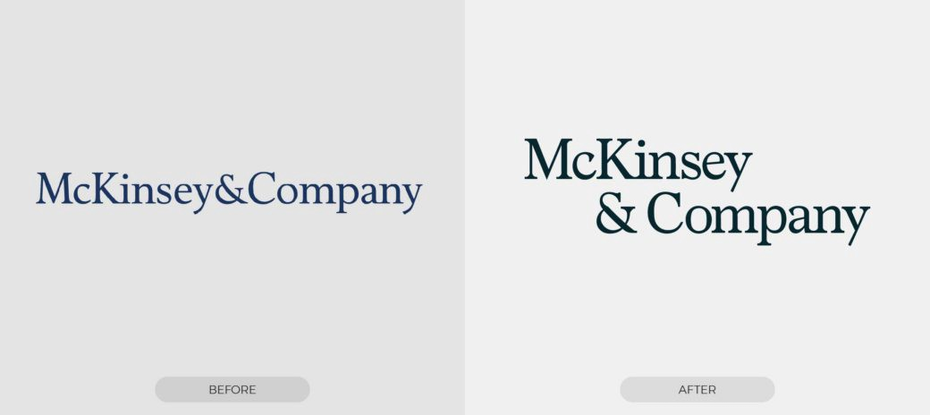 two logos of McKinsey & Company. Left logo is single line, while right logo occupies two lines