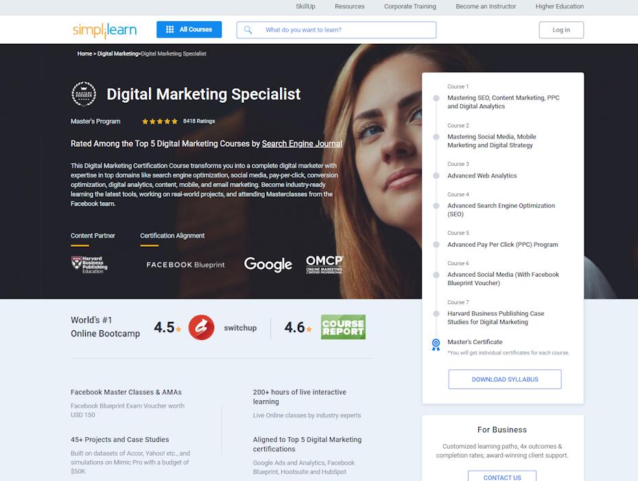 screenshot of Digital Marketing Specialist