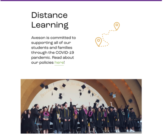 Information about distance learning and COVID 19 on a school website
