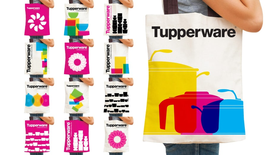 thirteen tote bags with different pictogram inspired designs