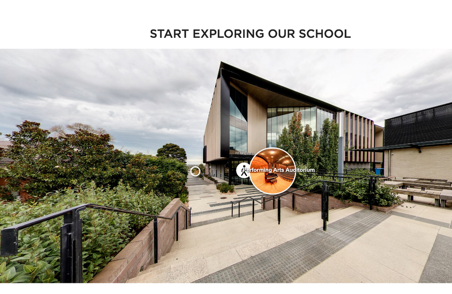 Virtual tour of school where you can click at different points to move around
