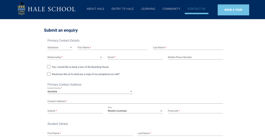 Application and Inquiry form on a web-page