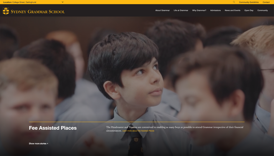 school website with a video playing in the background and foreground text