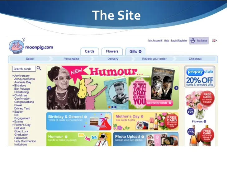 old website of moonpig, showcasing an old lady in black and white, a cartoon of a lady, and different buttons of card categories