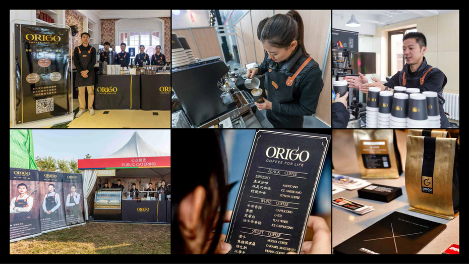a collage of Origo staff with their old black and gold theme