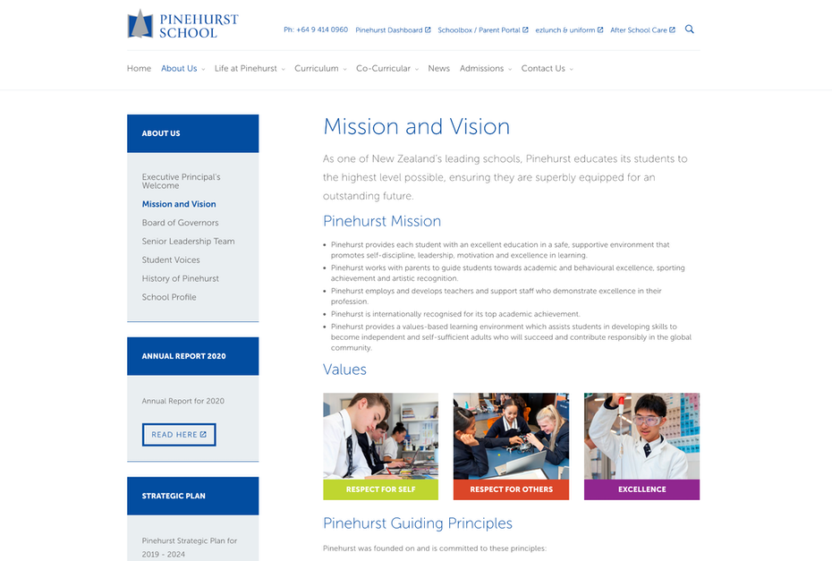 About page showing mission, vision, values and principles of school