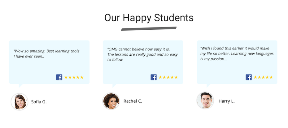 """Testimonials of students with a header """"Out happy students"""""""