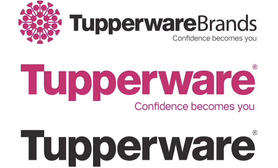 different layouts of Tupperware's logo with the Confidence becomes you tagline