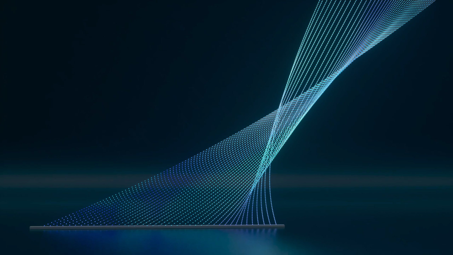 thin electric blue lines twist and form the partnership mark of McKinsey