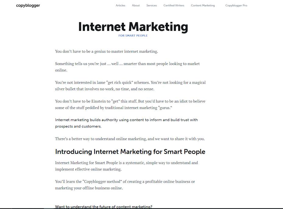 Screenshot of Internet Marketing for Smart People