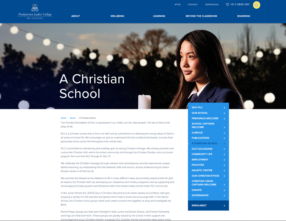 School website showing that they're Christian
