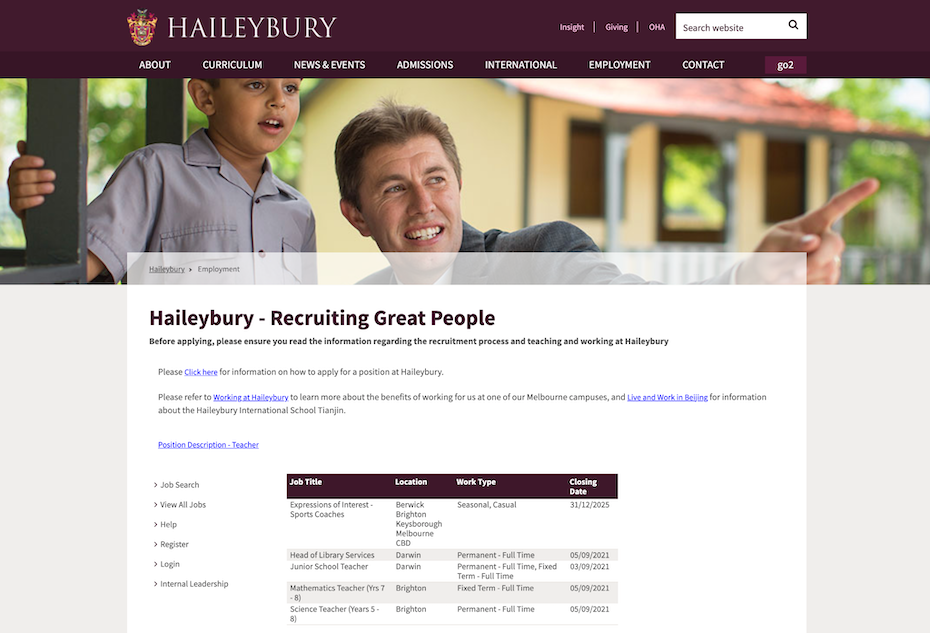 Recruiting web-page of a school