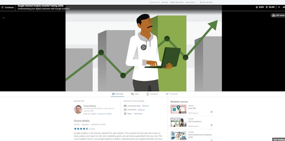 Screenshot of Google Universal Analytics Essential Training