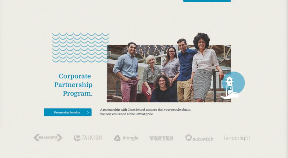 Corporate Partnership program page of a website