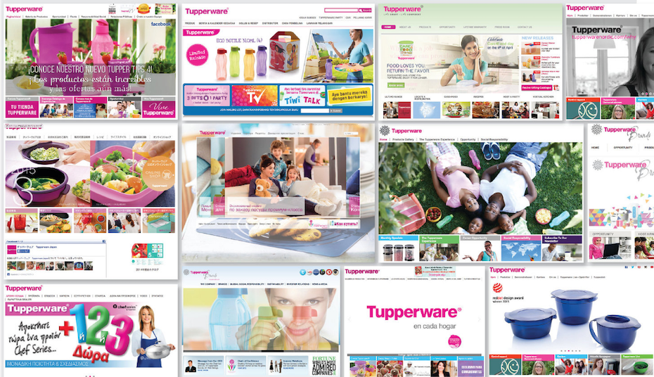 a collage of old welcoming pages of Tupperware's website over the years