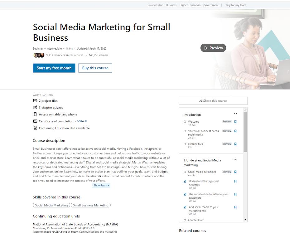 screenshot of Social Media Marketing for Small Business