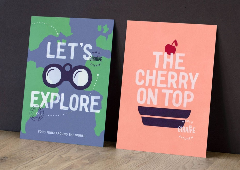 a kid's menu on the left has a world map in green and blue, and a huge binoculars in the middle. The kid's menu on the right has a pink background with cherry on top typography cake