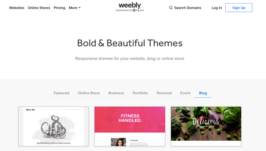Weebly's blog theme selection page
