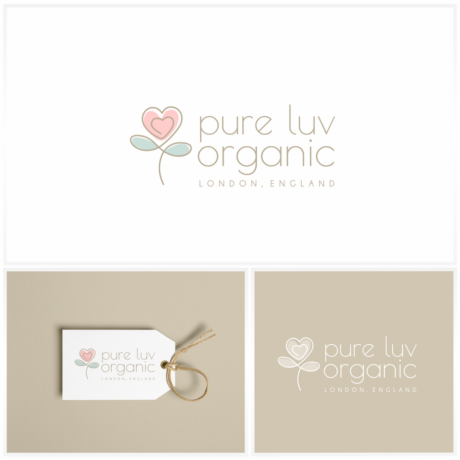 three different images of a red heart flower, a bag tag, and a logo stamp that says pure luv organic