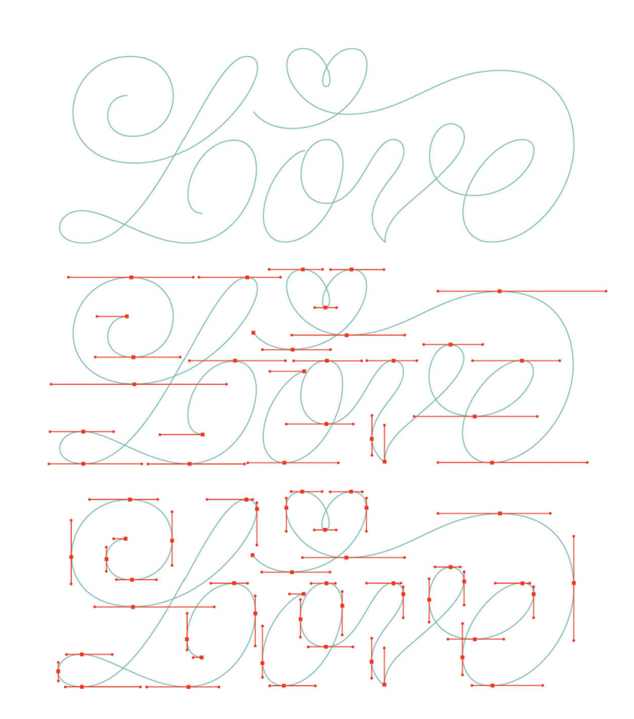 An example of how to trace letters using vector points in Illustrator