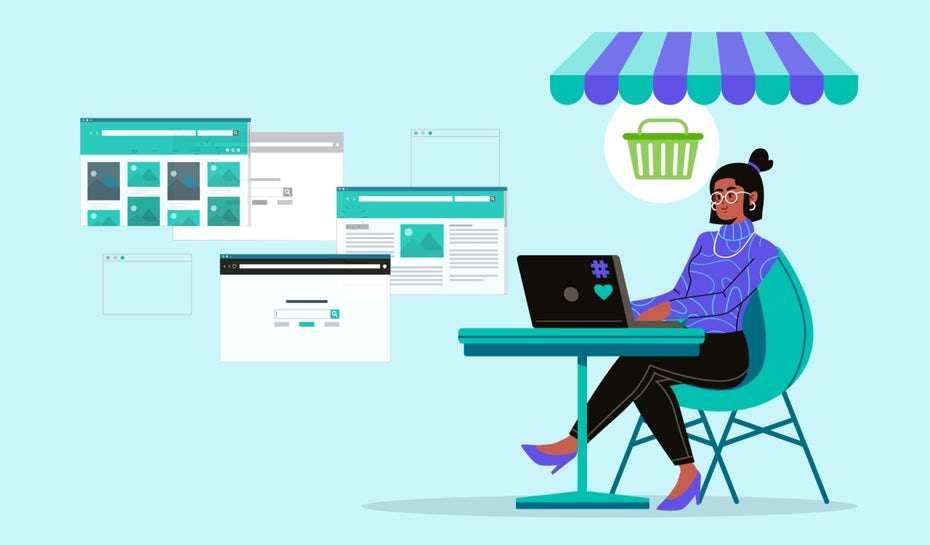 Individual sitting at a table looking at their best options for ecommerce website builders