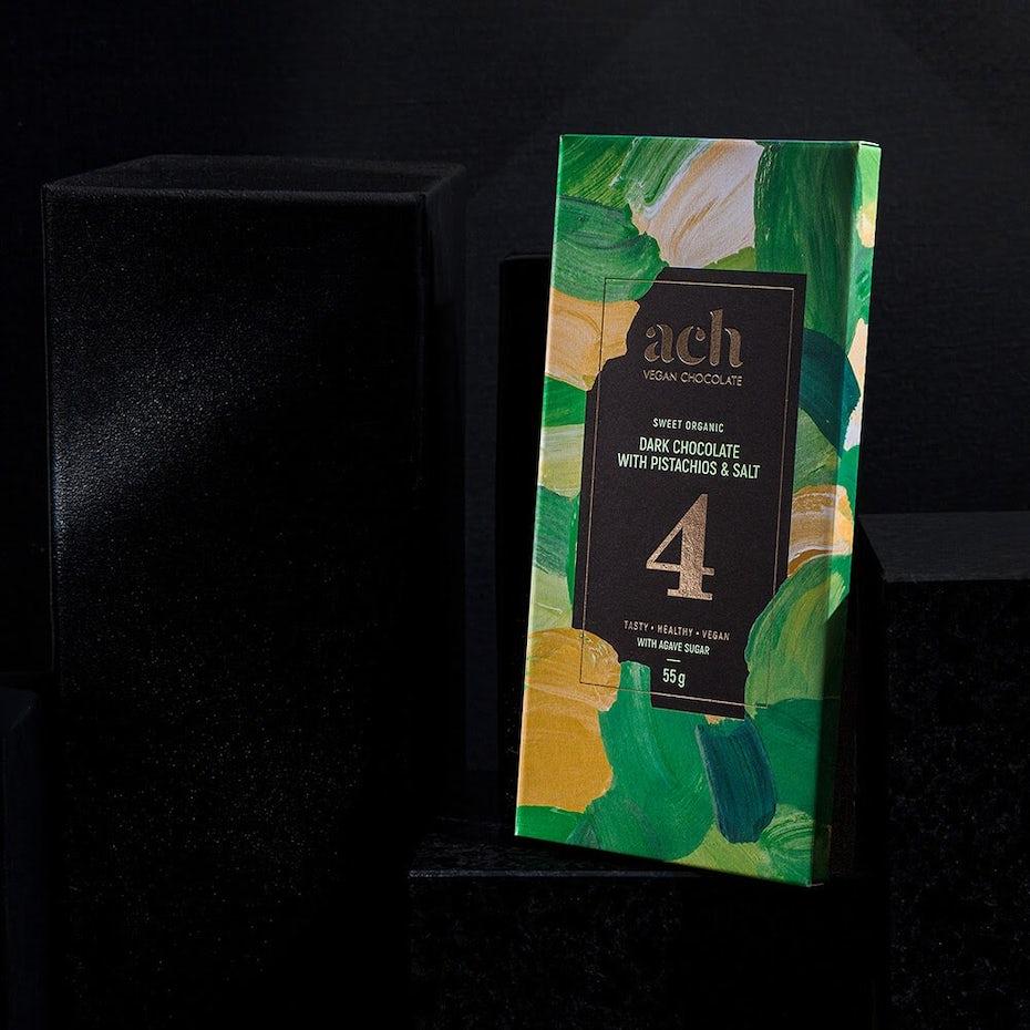 Painterly vegan chocolate packaging design via ach chocolate