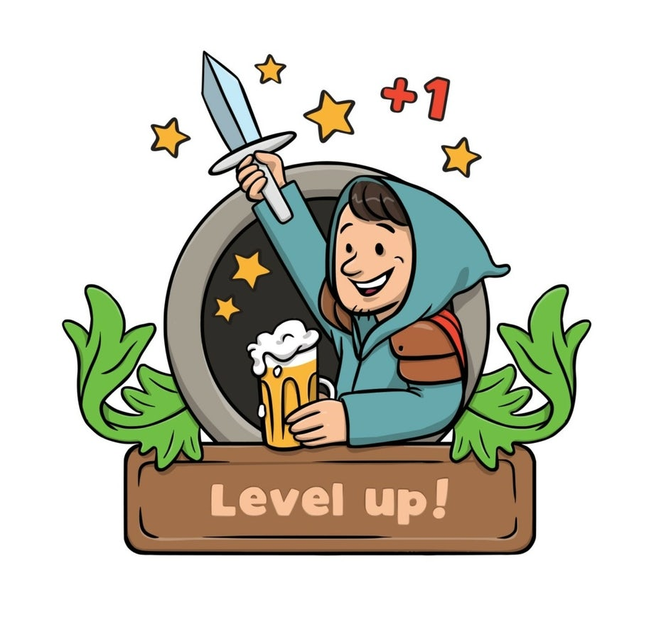 illustration of a peasant holding a beer and an upward sword