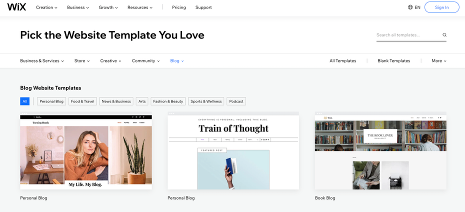 Wix's blog template selection page