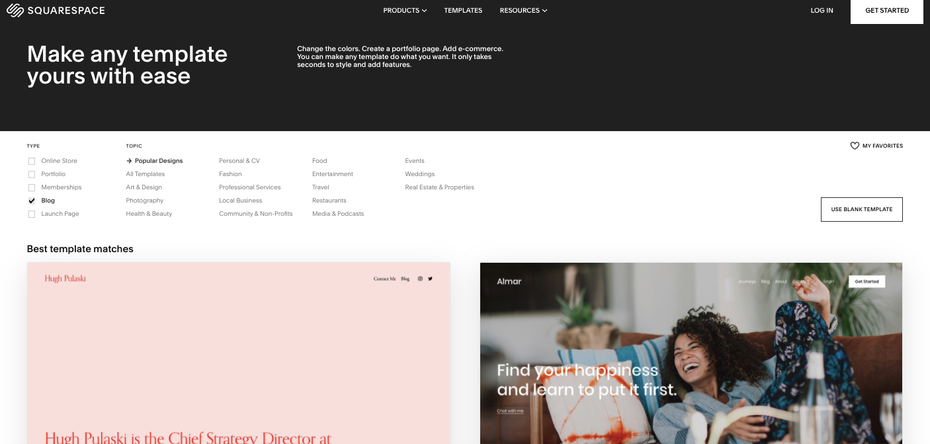 Squarespace blog template selection page