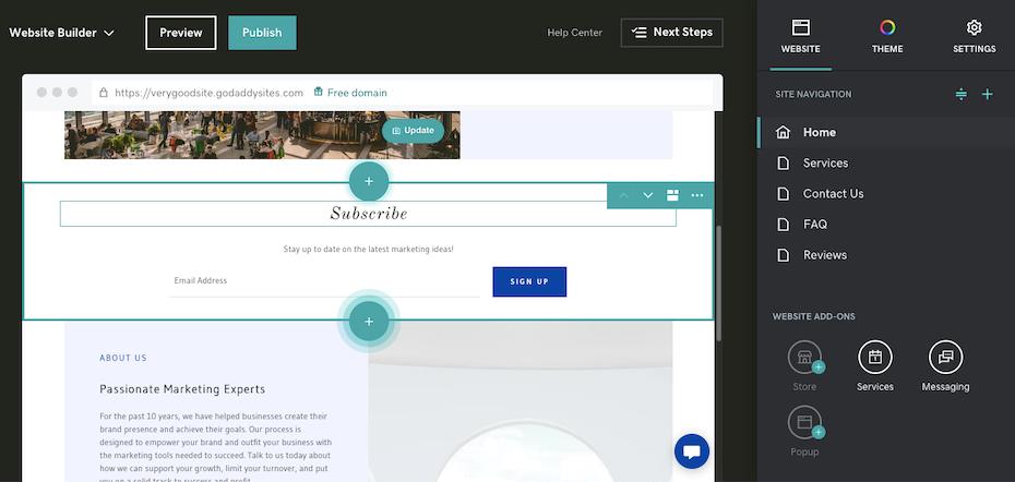Best website builders for ecommerce example: GoDaddy