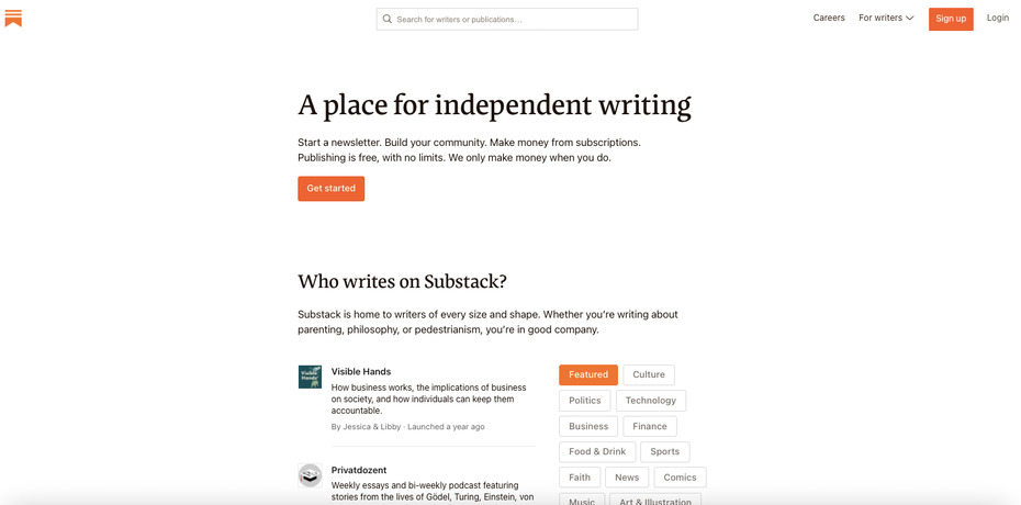 Substack homepage