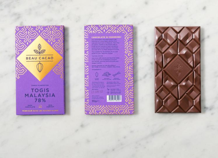 Sophisticated chocolate packaging design for Beau Cacao via Beau Cacao