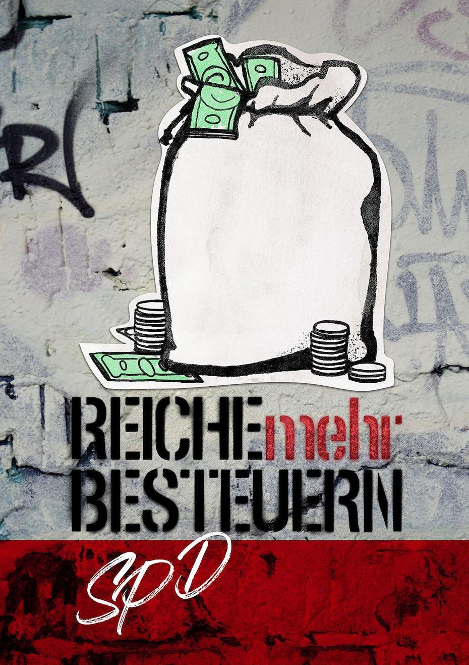 Plakatdesign für SPD mit Geldsack im Streetart Stil