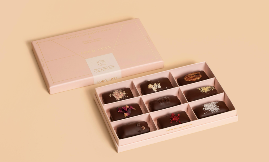 Beautiful chocolate box design via Loco Love